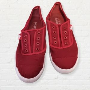 Lacoste Sport red Meyas mesh laceless sneakers